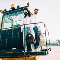 双肩包女韩版铆钉双肩背包皮时尚潮流背包男情侣书包 小号(建议1.5-1.65左右背)