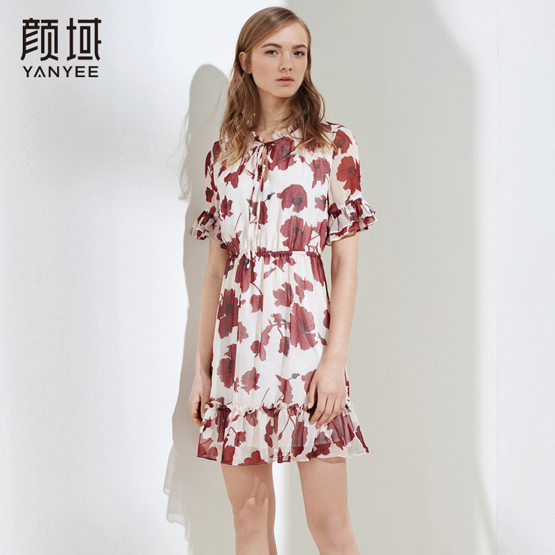 颜域女装2018新款系带木耳领收腰显瘦荷叶边连衣裙中长款裙子女夏