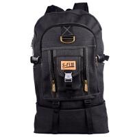韩版大容量双肩帆布包 电脑包 旅行背包男女潮包80L大号登山包 黑色