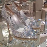 水晶鞋婚鞋高跟婚纱照鞋白色灰姑娘水钻单鞋新娘结婚鞋女2018新款