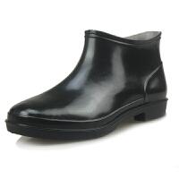 厨师厨房水鞋春夏季防滑时尚防水低帮胶鞋雨鞋短筒男中筒雨靴 黑色 (偏大1码)