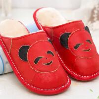 小孩儿童棉拖鞋女男童公主秋冬天保暖室内冬季防滑卡通皮拖鞋可爱