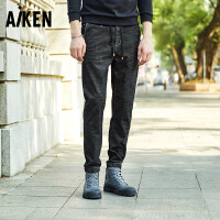 Aiken爱肯牛仔裤男18春季新款潮流直筒青年裤子男长裤小脚裤黑灰