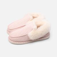 家居棉鞋男家居包跟棉拖鞋男士冬季室内居家厚底月子鞋毛绒保暖棉鞋女lkf