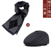 老人帽子男冬季天鸭舌帽中老年老头帽爸爸保暖加绒老年帽围巾套装xx +围巾