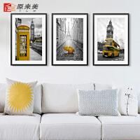 摩登城市建筑风景欧美装饰画客厅现代简约壁画卧室餐厅墙挂画北欧 60cm*80cm 黑色画框 一套价格