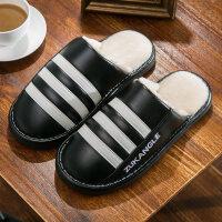 棉拖鞋女冬季情侣室内家居家用防滑软底保暖厚底PU皮面防水男棉鞋