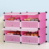思故轩简易鞋柜 防尘鞋架 组装双排组合多层树脂简约现代大容量
