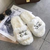 毛毛拖鞋女冬外穿2018新款百搭韩版平底一字拖休闲时尚网红凉拖鞋