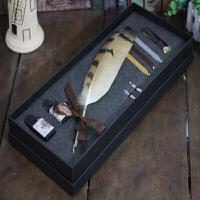 欧式复古羽毛笔火漆印章哈利波特文具试色蘸水笔钢笔套装礼盒彩墨