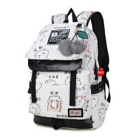 双肩包女初高中学生书包女韩版潮2018新款帆布时尚学院风旅行背包SN3679
