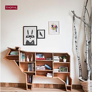 N空间 北欧ins全实木可爱动物书架 亲子创意清新木制书柜储物柜
