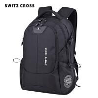瑞士双肩包男休闲男士时尚潮流高中生书包商务旅行大容量电脑背包