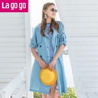 Lagogo2019夏季新款双排扣上衣长袖牛仔外套中长款束腰显瘦风衣女HAFF313Y29