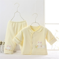 婴儿薄棉衣套装春秋薄款外出服女宝宝3个月1岁半新生儿春季两件套91