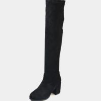 2018新款过膝靴女高跟粗跟秋冬季弹力长筒靴显瘦平底高筒长靴子女软底