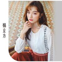 纯棉衬衫女长袖2019春季新款棉立方设计感小众花边镂空圆领衬衣