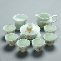 功夫茶具套装陶瓷家用茶杯茶道茶壶手绘荷花整套青瓷茶具