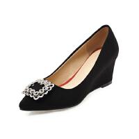WARORWAR法国YG18-2004新品春秋欧美反绒坡跟高跟鞋水钻女士单鞋