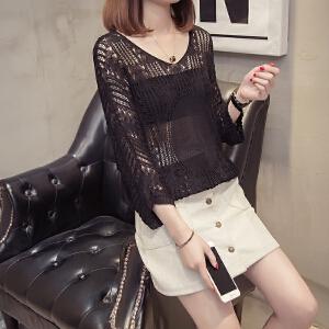夏季新款女装镂空V领针织衫罩衫宽松短款外穿套头t恤女七分袖薄款