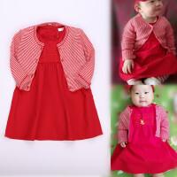 童装女童春秋款大红色短袖裙针织毛衣开衫纯棉连衣裙正红色裙