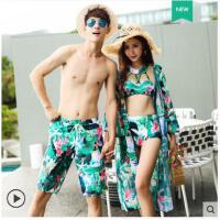 情侣泳衣女比基尼三件套男泳裤温泉保守显瘦小胸聚拢性感沙滩外套