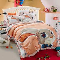 纯棉公主风韩式床上四件套1.5m床裙式床单被子韩版1.2床品1.8 乳白色 兔子警官