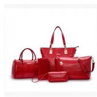 女包新款时尚子母包六件套鳄鱼纹女士包包手提包单肩包斜挎