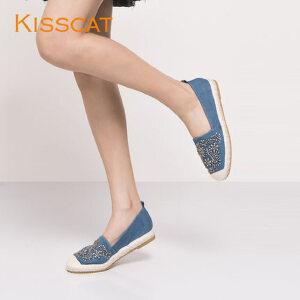 接吻猫女鞋渔夫鞋平底圆头一脚蹬懒人鞋DA76587-51