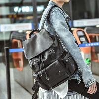 双肩包男韩版皮质时尚个性休闲潮流背包学生大书包男士旅行包 黑色 全PU皮