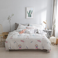 韩式公主风四件套简约粉色小清新三件套床上用品条纹床单