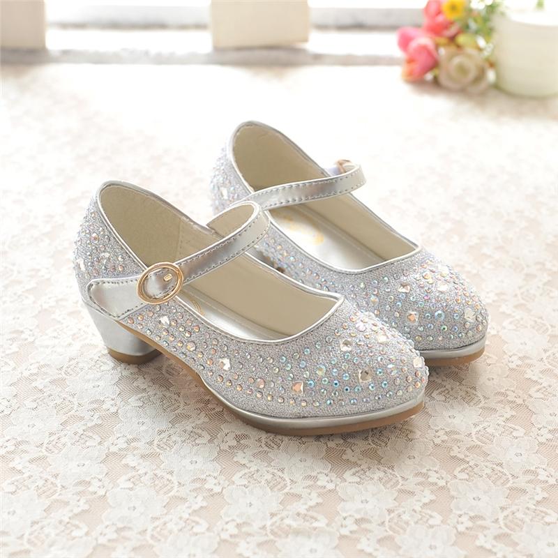 秋季女童皮鞋韩版儿童高跟单鞋 水钻牛筋底小公主皮鞋