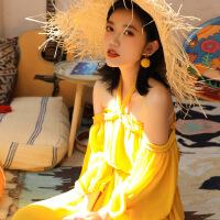 №【2019新款】一字肩马尔代夫沙滩裙女超仙显瘦海边度假大码普吉岛泰国雪纺长裙