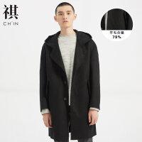 【1件3折到手价:193.77】CHIN祺新款毛呢大衣男中长款羊毛夹克呢子外套双面呢大衣复古chic