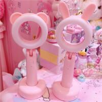 卡哇伊兔子熊熊粉色台灯夜灯LED三色补光灯学生护眼充电台灯