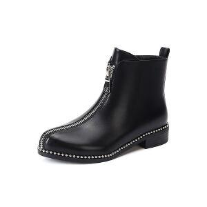 WARORWAR法国2019新品YG12-L03-04B冬季欧美牛皮真皮低跟鞋女鞋潮流时尚潮鞋百搭潮牌靴子马丁靴短靴