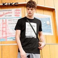 kikc短袖T恤 2018夏季新款青年学生圆领休闲个性字母印花上衣男潮