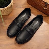 秋季平底妈妈鞋子舒适防滑软底女鞋单鞋中老年奶奶皮鞋老人鞋