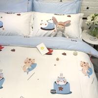 ???全棉卡通简约学生宿舍儿童单人床三件套纯棉床上用品四件套床单款 2.0m(6.6英尺)床 ★床笠款套件
