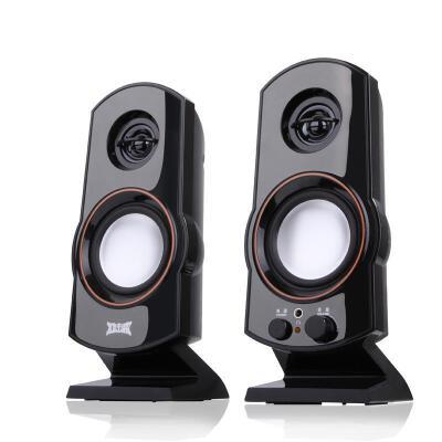 shockwaveT07 便携式笔记本音箱 2.0声道高保真音质电脑音响 黑色前置开关音量调节,可接耳机使用,USB供电