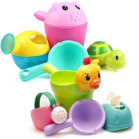 儿童洗澡玩具戏水车男孩女孩小黄鸭洗头杯花洒宝宝洒水壶套装沙滩 洗澡玩具8件套 颜色随机