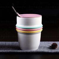 低骨瓷杯子陶瓷杯带盖勺创意情侣水杯马克杯牛奶早餐咖啡杯