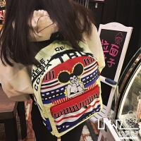 韩版原宿卡通撞色印花涂鸦男女双肩包学院风书包旅行背包 浅黄底 米老鼠