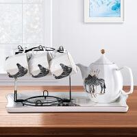 北欧茶具套装家用简约现代客厅整套喝茶功夫茶具欧式陶瓷茶盘茶壶 8件