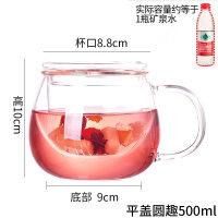 耐热加厚玻璃杯带盖创意办公茶杯水杯泡茶花茶过滤喝茶杯可爱杯子jh7