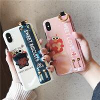 日韩卡通可爱芝麻街6s苹果x手机壳XS MAX/xr/iphone7plus/8/X全包女款腕带8p i⑥/⑥s 饼干