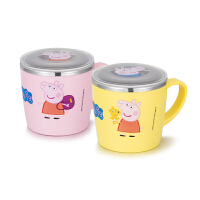 Peppa Pig 小猪佩奇儿童水杯宝宝夏季不锈钢耐摔带盖手柄马克杯子韩国进口餐具