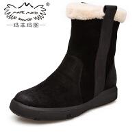 玛菲玛图鞋子女冬大码加绒皮毛一体雪地靴女新款短靴女侧拉链马丁靴女设计师女鞋530-51
