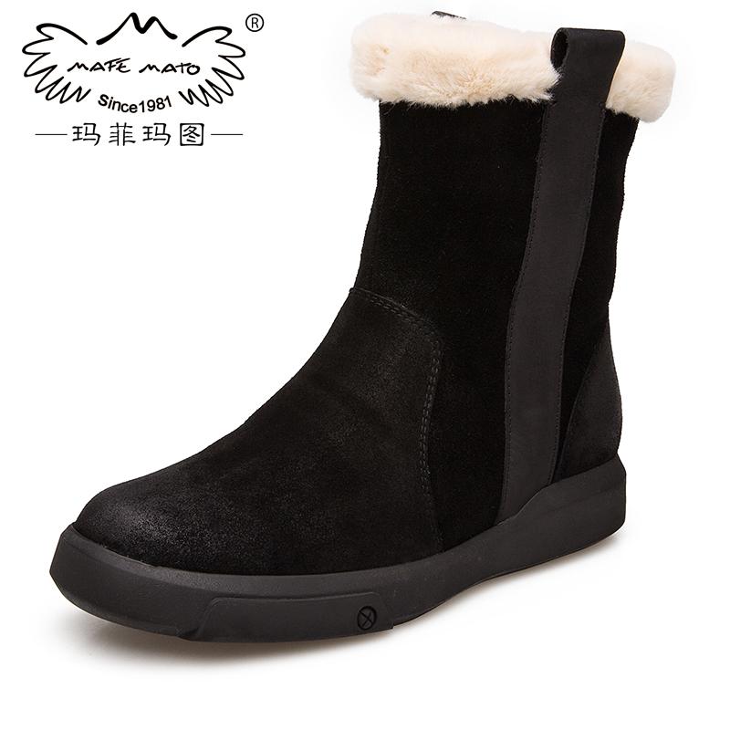 玛菲玛图鞋子女冬大码加绒皮毛一体雪地靴女新款短靴女侧拉链马丁靴女设计师女鞋530-51尾品汇 付款后3-5个工作日发货