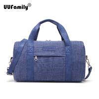 时尚手提旅行包小号单肩运动包可折叠套行李箱行李包亚麻 典雅蓝 中
